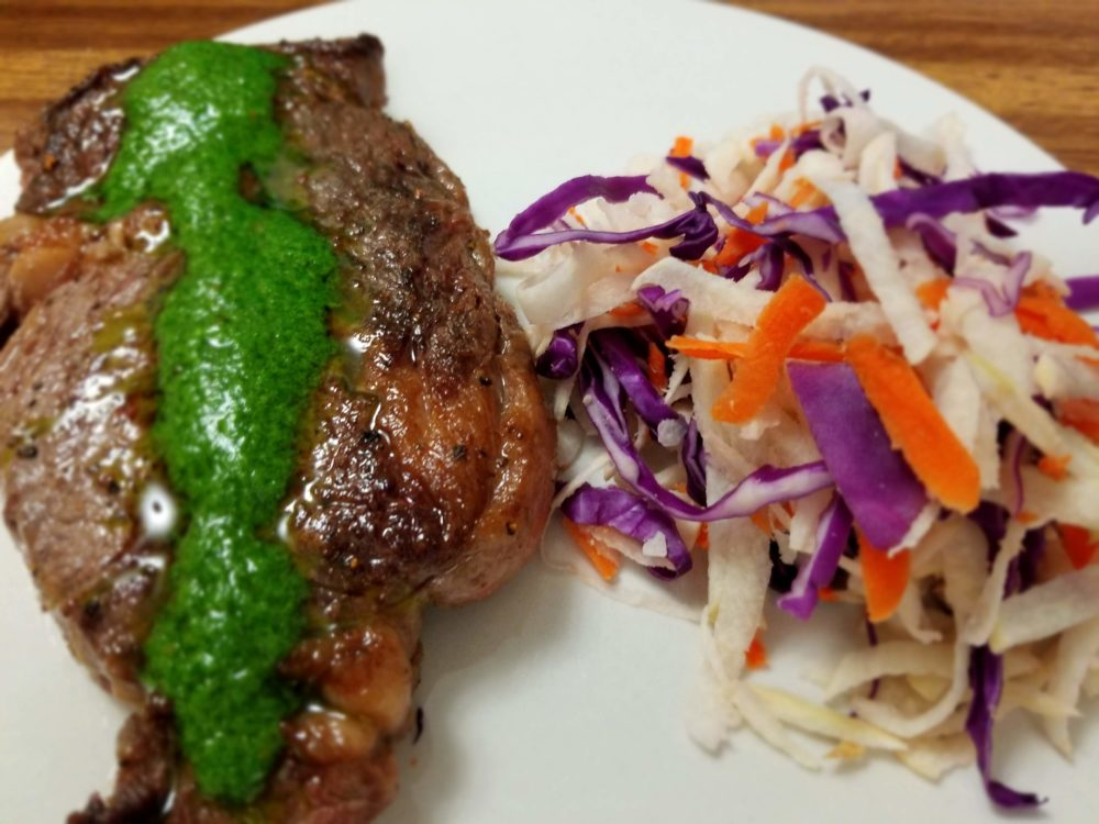 Pan Seared RibEye with Chimichuri Inspired Sauce w/ Lemony Jicama Slaw