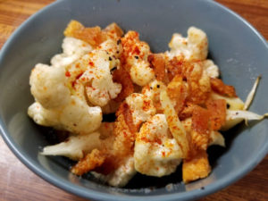 Pork Rinds Over Cauliflower