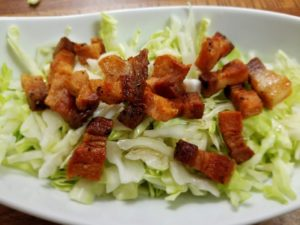 Pork Belly Over Cabbage